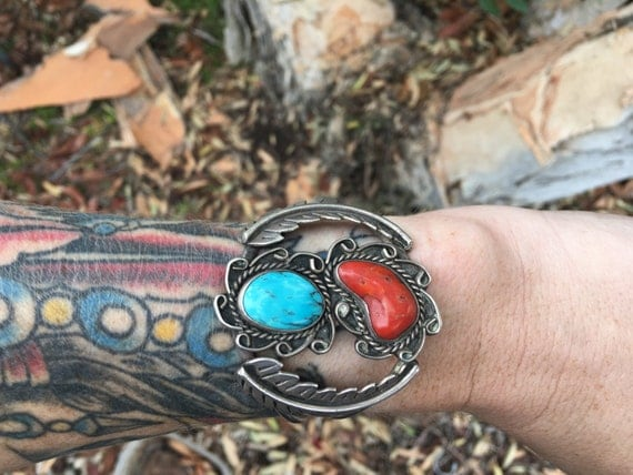 Vintage Coral and Turquoise Cuff Sterling Silver 1970's