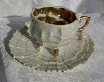 Vintage Demitasse - Lusterware ~ Gold Accents ~ Cup and Saucer ~ Seashell ~ Free Shipping