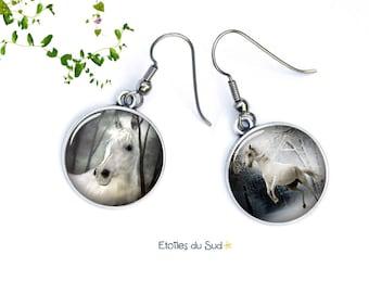 boucles d'oreilles chevaux blancs, la camargue, ref.263