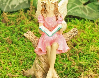 Fairy Abigail, Sitting Fairy Reading Book, Log Stump, Fairy Garden Figure, Fairy Garden Accessory, Miniature Garden, Playing Fairies,