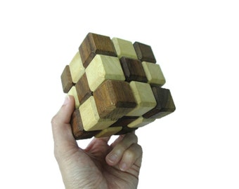 Handmade Wooden Cube Rubik's Snake Lock Puzzle
