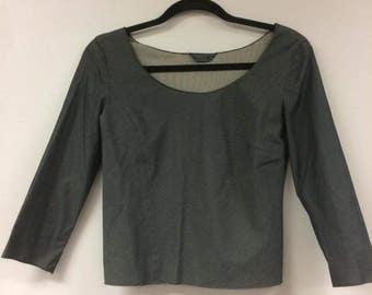 Vintage Prada Grey Crop Shirt - Size 8 US
