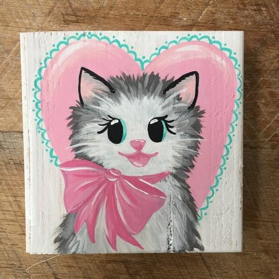 Hand Painted Valentine Kitty, Vintage Kitty, Vintage Valentine, Valentine Art
