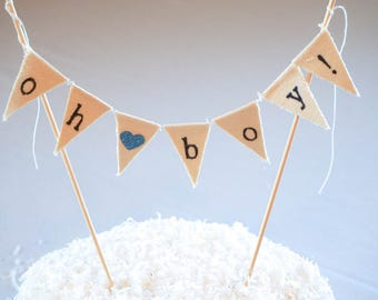 Baby Shower Boy Cake Topper Banner