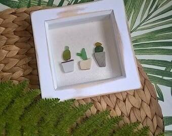 box framed cacti trio sea glass art