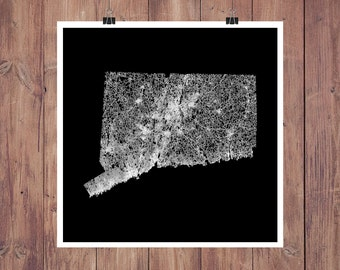 Connecticut Roads High Resolution Digital Print / Map of Connecticut / Connecticut Print / Connecticut Wall Art / Connecticut Poster