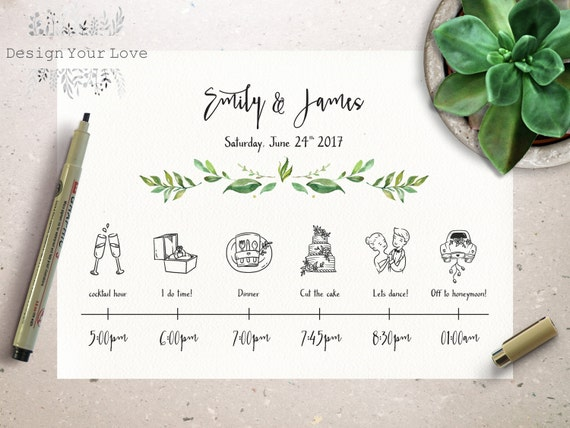 Wedding timeline printable wedding itinerary template green like this item junglespirit Images