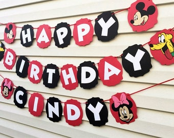 Mickey Mouse Clubhouse Birthday Banner - Mickey Mouse Birthday Banner - Mickey Mouse Party Decorations - Minnie Mouse Banner - Minnie Mouse