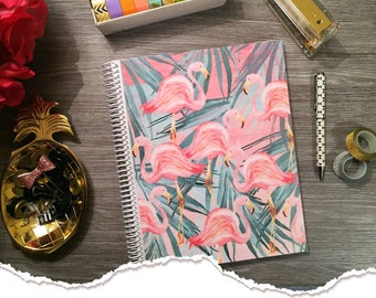 Small Size - Horizontal Monthly & Weekly Planner - St. Flamingos - 1 Year Planner 2017 - 2018