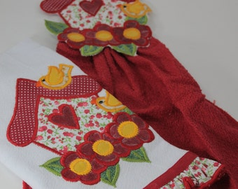 Set of 2 Embroidered Tea Towels, Kitchen Towels, Red Kitchen Towel, Embroidered Towel
