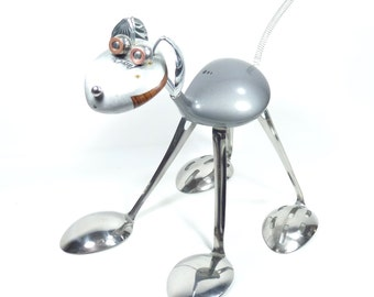 Upcycled Dog Sculpture  -  Dog 1  // golf clubs and spoons !!