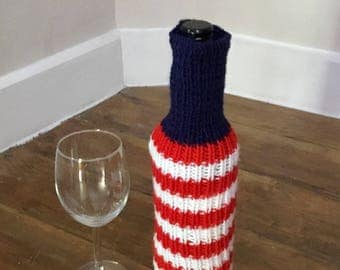 USA flag knitted wine bottle cover