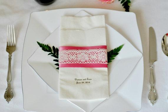 Vintage Lace Accented Satin Ribbon Linen-Like Wedding Napkin