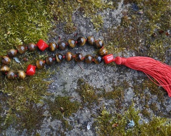 Tiger's Eye,Coral,21 bead Mala,silk,silk tassel