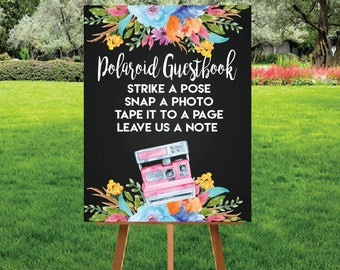 Wedding polaroid guestbook signage Custom chalkboard digital print in 8x10, 11x14, 16x20