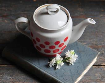 small Soviet vintage teapot, retro polka dot teapot, red and white porcelain dotted teapot, COFV31
