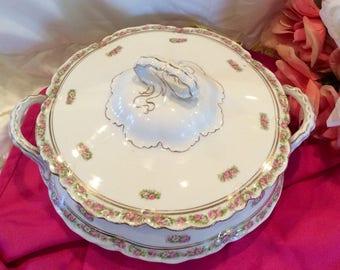 Vintage Pope Gosser china covered serving bowl