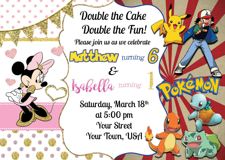 Minnie Mouse/Pokemon Double Birthday Invitation [E10261624441774684M ...