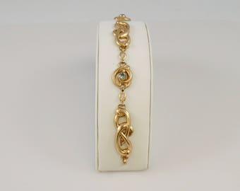 10k Yellow Gold Vintage Estate Open Work Aquamarine Gemstones Chain Link Bracelet