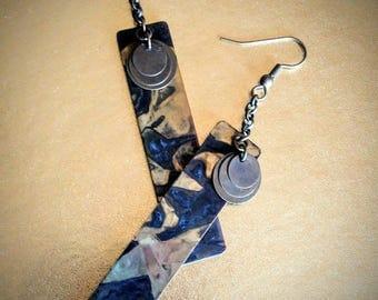FREE SHIPPING! Brass Bar Earrings - Patina Brass Earrings - Brass & Chain Earrings
