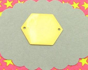 8 Great golden hexagonal charm, sequin, brass based, blank charm