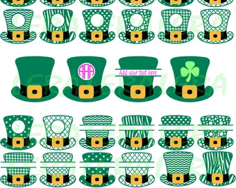 60 % OFF, Leprechaun Hat SVG, Patrick Monogram Svg, dxf, ai, eps, png, St Patricks day, Digital Cutting Files, St Patricks Day SVG cut files