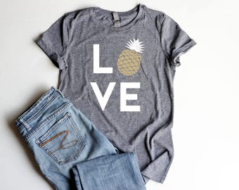 Pineapple LOVE Shirt Junior Fitted Pineapple Party Shirts Bridal Shower Pineapple Birthday Party Shirt Women Pineapple Summer Cute Shirt