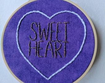 "Purple Sparkly Sweetheart 5"" Embroidery Hoop"
