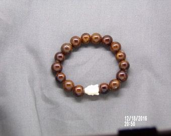 B021707  Brown Ceramic Beaded Bracelet.