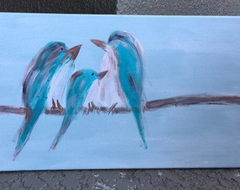 Bird hand painted canvas 24 inches x 12 inches long
