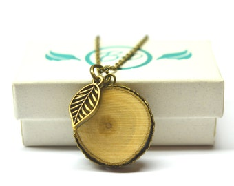 Organic Wood Slice Diffuser Necklace with Leaf Charm - With Choice of Essential Oil