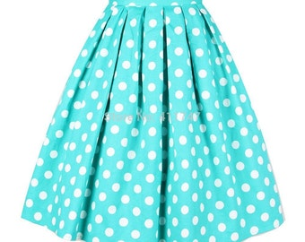 Vintage Turquoise Pleated skirt With white polka dot Gift Cute