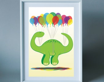 Dino Party Diplodocus - wall art print for children's room, nursery or the home