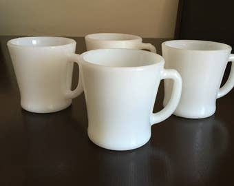 Set of 4 Fire King, Anchor Hocking D Handle Mugs.