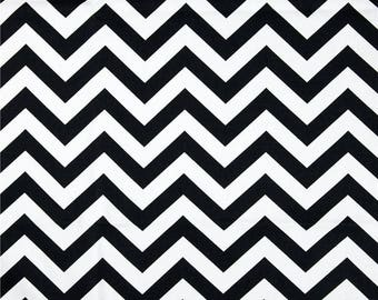"Black and White Chevron Fabric | Premier Print Zig Zag Fabric Remnant (18"" x 33"") 