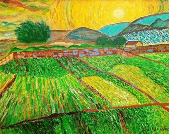 Enclosed fields with the rising sun - Van Gogh reproduction painting