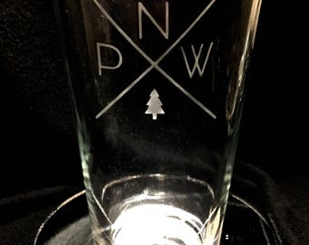 Etched PNW pint glasses