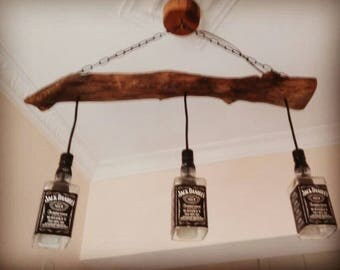 Rustic pendant light fixture made with bottles