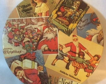 Vintage Christmas Victorian Tin