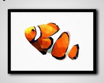 Clown Fish Art Print, Low Poly Clown Fish, Clown Fish Wall Art, Clown Fish Print, Printable Clown Fish, Clown Fish Portrait, Clown Fish Art