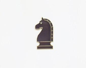 Knight Black Enamel Pin