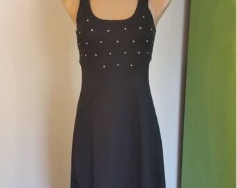 70s Black Maxi Dress. Racerback. Rhinestones. Sleeveless Black Dress. Long Dress. Formal. Party. Size Small.