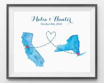 Wedding Guest Book Two State Print - Custom state guestbook for weddings, celebrating long distance relationships.
