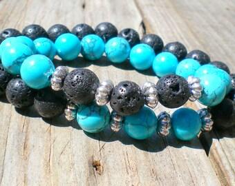 Long distance relationship, distance bracelets, couples bracelets, best friend bracelets, his and hers, turquoise, lava stone, blue howlite