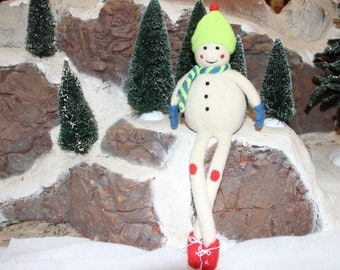 Handcrafted Needle Felted Wool Christmas Doll - Snowman Elf