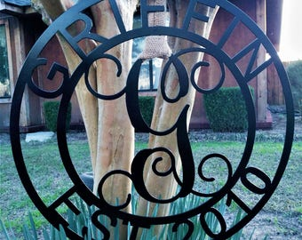 Family Established Signs, Last Name Established Sign, Anniversary Gifts, Personalized Gift, Home Decor, Wedding Established Sign, Metal Sign