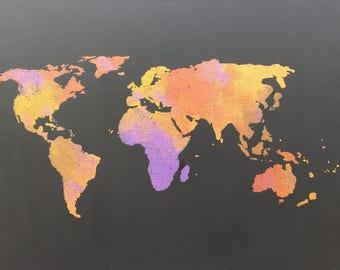 World Map Wall Art Painting 16 x 20