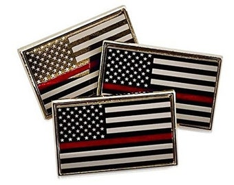3 Pack Of Thin Red Line Fire Fighter Support Flag Lapel Pins Tie Tacks (Free Shipping)
