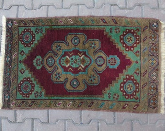 Small Oushak Rug, Vintage Small Rug, Bathroom Rug, Turkish Door Mat Rug, Oushak Small Rug, Small Vintage Rug, Turkish Small Rug 1'9x3'1