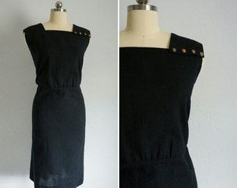 vintage Noir Classique linen dress | vintage black linen dress | little black dress